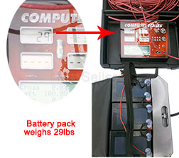 Battery pack weighs 29lbs