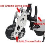 The 1200 watt has solid chrome spring shock, solid chrome forks and folding arm
