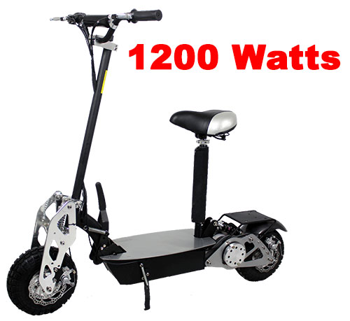 Super Turbo-Charged 1200 Watt Chrome Electric Scooter