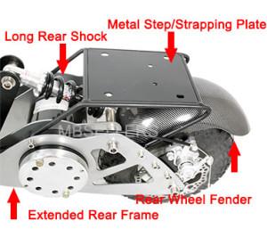 The 1200 watt has, extended rear frame, long rear shock, metal steping plate and rear fender